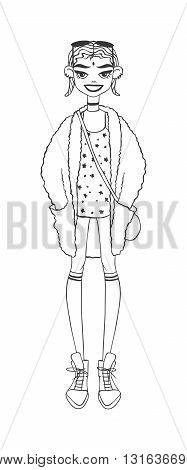 Fashion illustration sketch girls collection activity and beautiful drawing sketch girl. Sketch girl cartoon graphic style and sketch girl summer dress look. Sketch girl sunglasses fashion character.