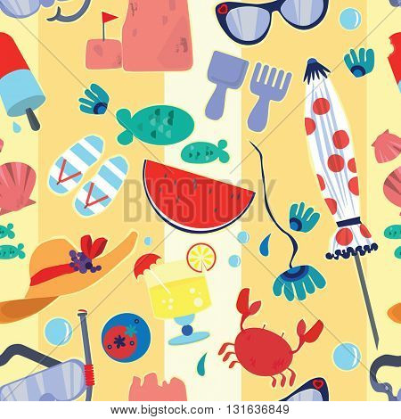 Repeating Vector Pattern Of Beach And Vacation Illustrations