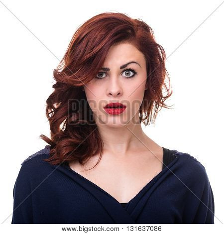 Closeup portrait of surprised young lady isolated on white studio shot