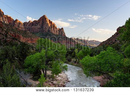 Zion National Park in Spring - View of the mountain peak named The Watchman.