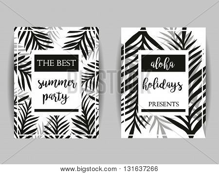 Summer party posters with palm leaf and lettering. Summer Party. Aloha Holidays. Abstract Palm Branch. Greeting card Invitation Party Flyer. Tropical Summer Background.