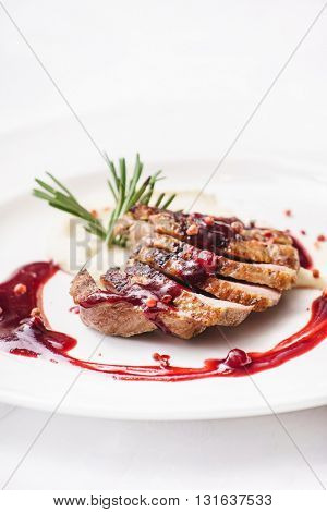 duck breast with sauce