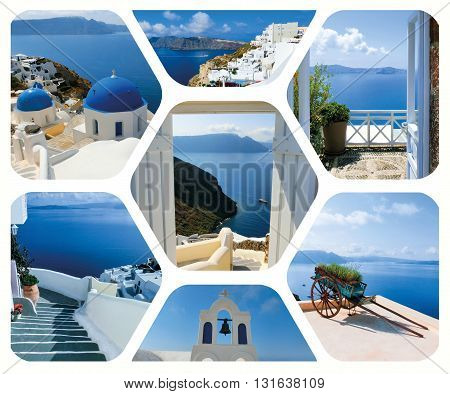 The set of summer photos in Santorini island, Greece