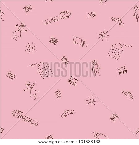 Seamless sample with a children's drawings on a pink background. Vector illustration. It can be used as a background for the websites, packing, fabrics