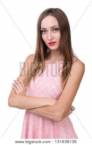 Young beautiful woman portrait, isolated over white background.