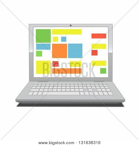 This is an illustration of laptop screen with tiles