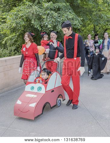 Rostov-on-Don Russia- May 22, 2016: Children and parents walk in carnival costumes
