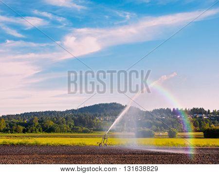 Irrigation equipment watering freshly seeded field, rainbow in water stream