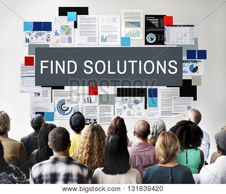 Find Solution Problem Solving Progress Result Concept