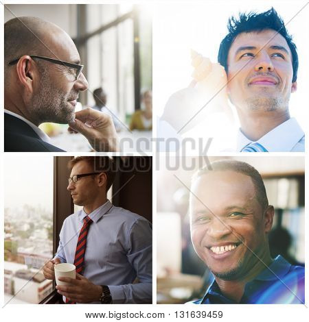 Businessmen Faces Diversity White Collar Worker Concept