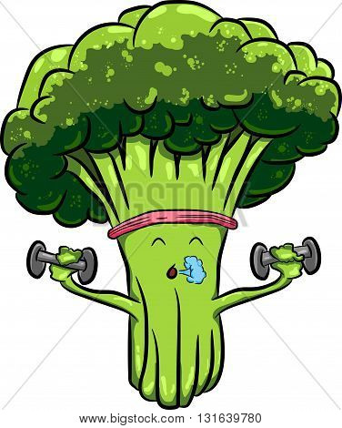 Organic farm cartoon broccoli vegetables with green stalks and lush heads. Funny cabbage family characters for vegetarian food menu, agriculture harvest or farm market design