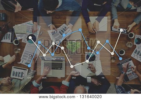 Line Graph Business Data Analysis Concept