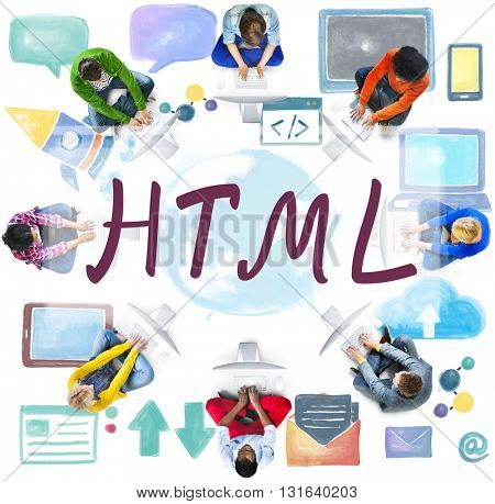 HTML Computer Language Internet Online Technology Concept