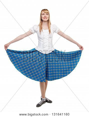 Young Woman In Clothing For Scottish Dance