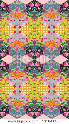Colorful floral patchwork. Seamless quilting design. Vector illustration.