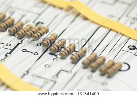 Detail of Electronic resistors and electronic PCB