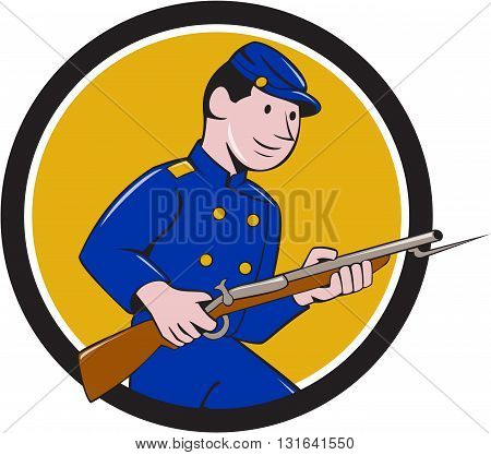 Illustration of a Union Army soldier during the American Civil War holding rifle with bayonet set inside circle on isolated background done in cartoon style.