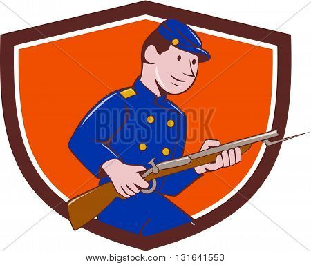Illustration of a Union Army soldier during the American Civil War holding rifle with bayonet set inside shield crest on isolated background done in cartoon style.