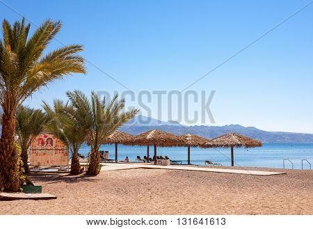 Eilat Israel - February 11 2016: The beach of Eilat. Eilat is a famous recreation city in Israel.