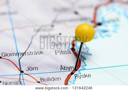 Abyn pinned on a map of Sweden