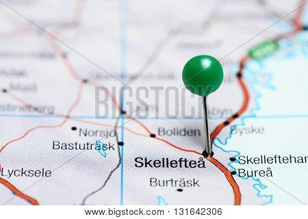 Skelleftea pinned on a map of Sweden