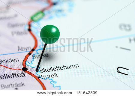 Skelleftehamn pinned on a map of Sweden