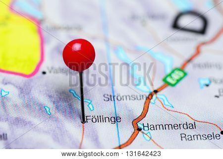 Follinge pinned on a map of Sweden
