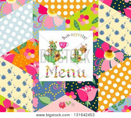 Beautiful menu template with happy dragons on patchwork background. Vector illustration.