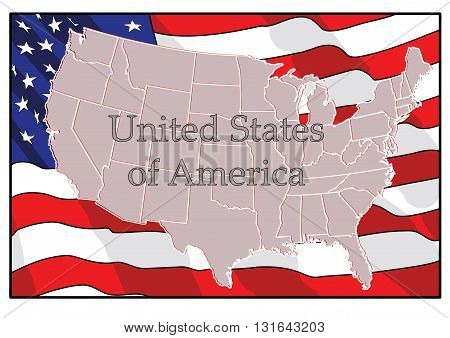 Map of the United States flag in the background