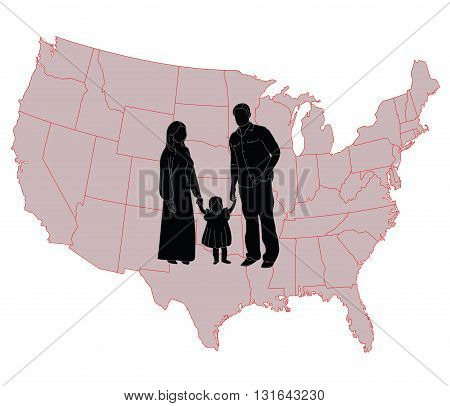 Silhouette of happy family on a background map of America