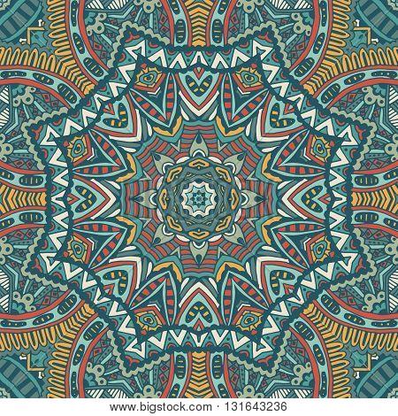 Abstract  vintage ethnic geometric ornamental seamless pattern. Mandala design. Doodle frame
