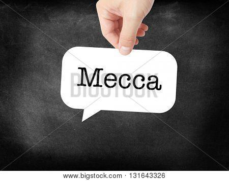 Mecca written on a speechbubble