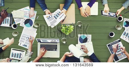 Office Busy Meeting Colleagues Corporate Data Concept