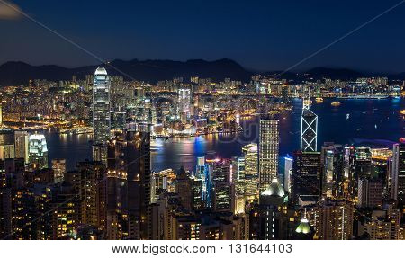 Hong Kong Victoria Harbor Skyline At Night