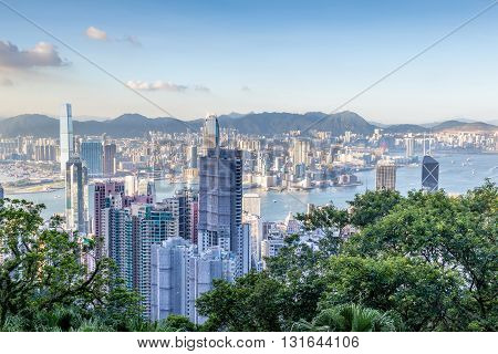 Aerial View Of Victoria Harbor In Hong Kong