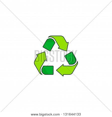 Recycling symbol vector logo isolated on white background green recycle sign icon outline line style
