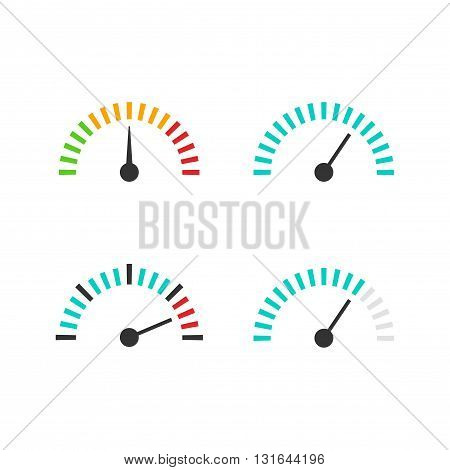 Speedometer icon set vector illustration speed control measure element with scale pressure indicator abstract measurement tool symbol design isolated on white background