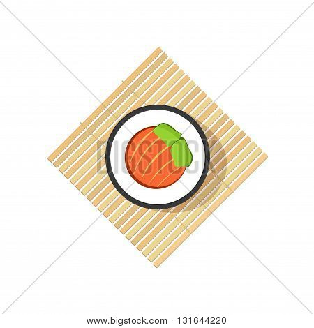 Sushi roll with abstract vegetables salmon ingredients on rolling wooden mat isolated on white background flat cartoon logo element design
