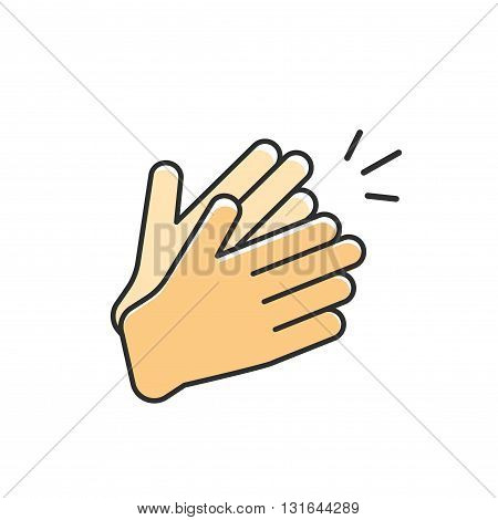 Hands clapping vector icon applause flat cartoon outline linear design with clap sound illustration isolated on white background