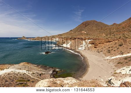 Remote beach at the rocky coast of Cabo de Gata-Nijar national park, Almeria province, Spain