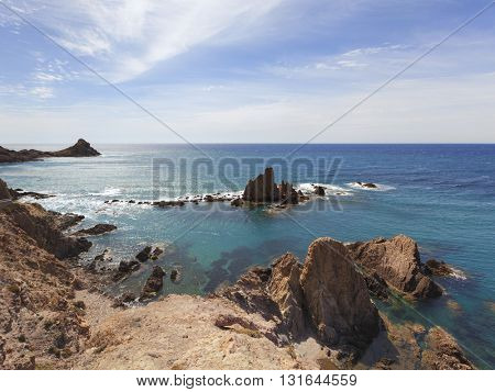 Rocky coastline at Cabo de Gata Natural Park, Almeria Province, Andalusia, Spain