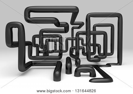 3D abstract illustration of pipelines on a gray background