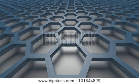 3D blue color abstract cellular lattice background