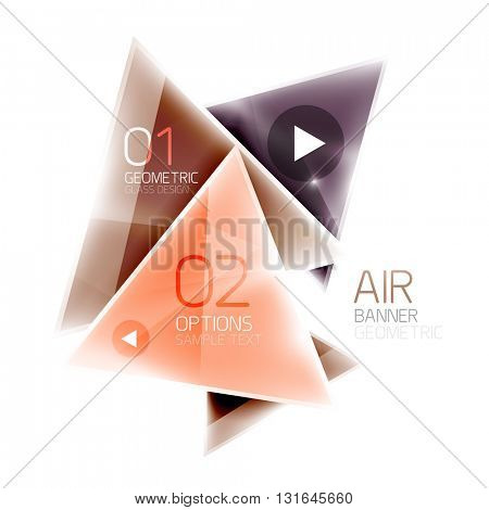 Glass color triangles infographics. Futuristic business design