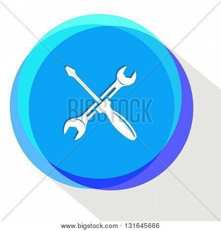 screwdriver and spanner. Vector icon.