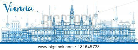 Outline Vienna Skyline with Blue Buildings. Vector Illustration. Business Travel and Tourism Concept with Historic Buildings. Image for Presentation, Banner, Placard and Web Site.