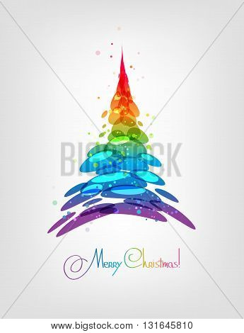 Christmas tree abstract multicolored card vector illustration stylized fir tree