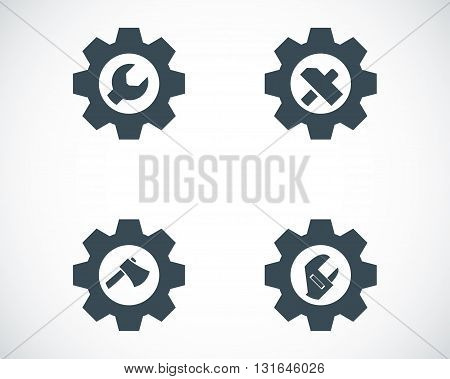 Vector black tools in gear icons set on white background