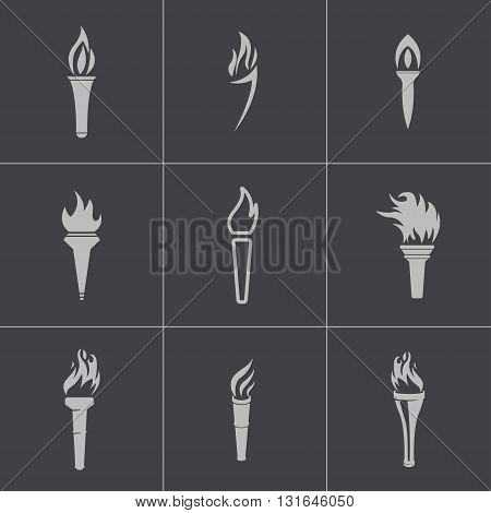 Vector black torch icons set on grey background