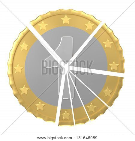 Isolated one coin pie chart concept against white background 3d rendering